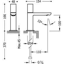 Grifo de lavabo Max-Tres 1 agua con volante