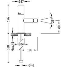 Grifo de bidé Max-Tres tubular con volante