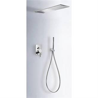 Kit de ducha monomando empotrado Max-Tres rectangular INOX