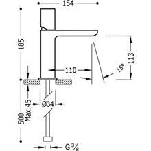Grifo de lavabo Loft-Tres caño cascada horizontal