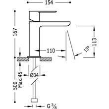 Grifo de lavabo redondo con maneta Loft-Tres