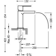 Grifo de lavabo Loft-Tres caño cascada libre con maneta