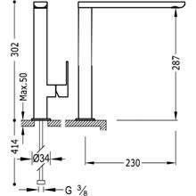 Grifo de lavabo Loft-Tres caño alto con maneta ECO
