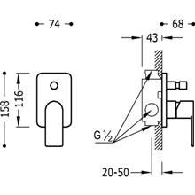Grifo empotrado de 2 vías Loft-Tres