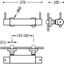 Grifo de ducha termostática bimando con manetas ECO Loft-Tres