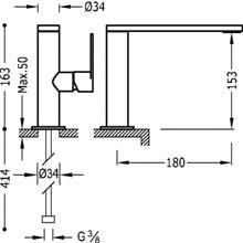 Grifo de lavabo Class-Tres 16,3cm x 18cm con maneta ECO