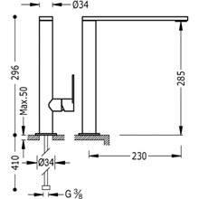 Grifo de lavabo Class-Tres 29,6cm x 23cm con maneta ECO