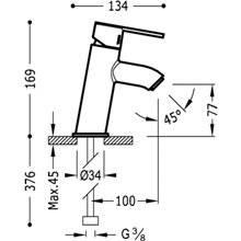 Grifo de lavabo Lex-Tres inclinado