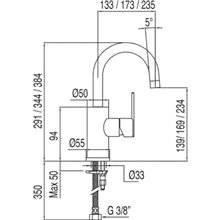 Grifo de lavabo Lex-Tres 27,5cm x 13,3cm con maneta ECO