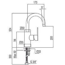 Grifo de lavabo Lex-Tres 32,4cm x 17,3cm con maneta ECO