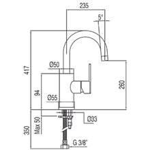 Grifo de lavabo Lex-Tres 41,7cm x 23,5cm con maneta ECO