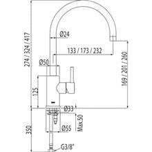 Grifo de lavabo Alplus 41,7cm de alto con maneta ECO
