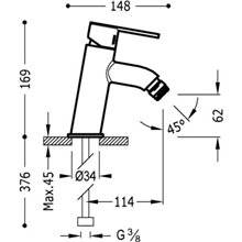 Grifo de bidé Lex-Tres inclinado con maneta