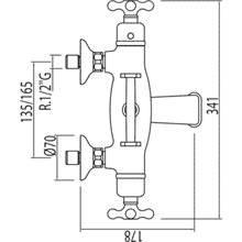 Grifo de bañera-ducha termostática ECO Monoclasic 1900 con soporte
