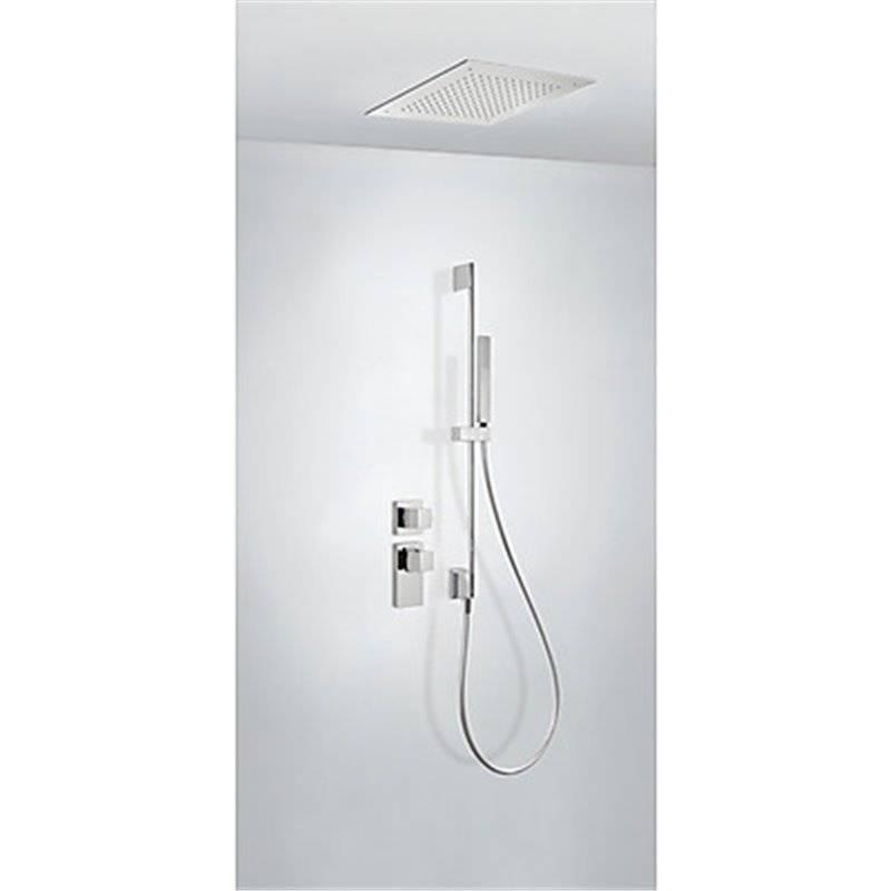 Kit de ducha termostático empotrado ECO Tres INOX a techo barra deslizante