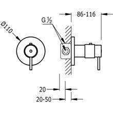 Grifo termostático de empotrar ducha Compact Tres redondo