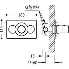 Grifo termostático empotrado ducha Compact Tres 11cm x 18cm