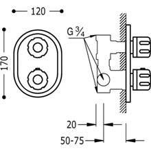 Grifo termostático empotrado ducha Compact Tres llave de paso