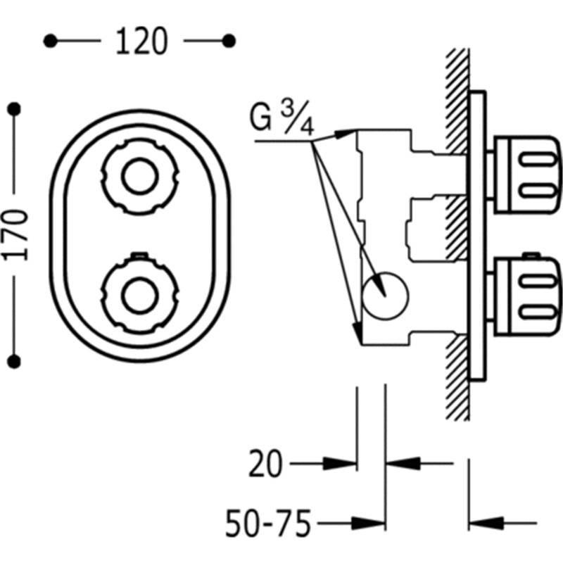 Grifo termost tico empotrado ducha compact tres llave de for Llave de paso ducha