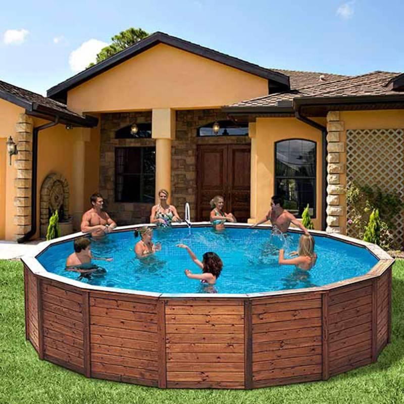Piscina k2o redonda de madera panelada 475x127 cm - Materiales para piscinas ...