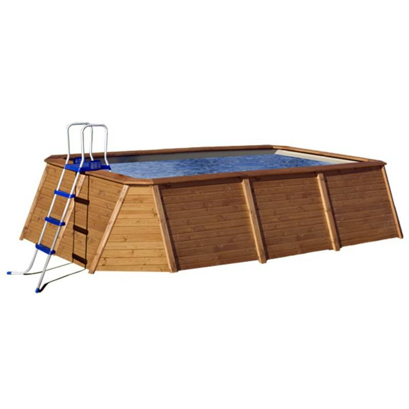 Piscina k2o rectangular de madera panelada 345x255x107 cm for Piscina rectangular