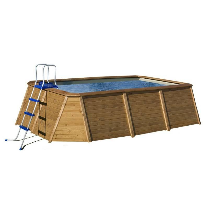 Piscina k2o rectangular de madera panelada 490x293x126 cm for Piscina madera rectangular