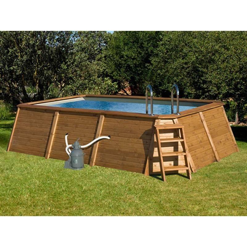 Piscina k2o rectangular de madera panelada 490x293x110 cm - Piscina madera rectangular ...