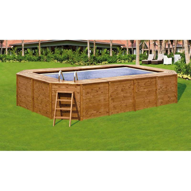 Piscina k2o rectangular de madera panelada clorador salino for Piscina desmontable rectangular 3x2