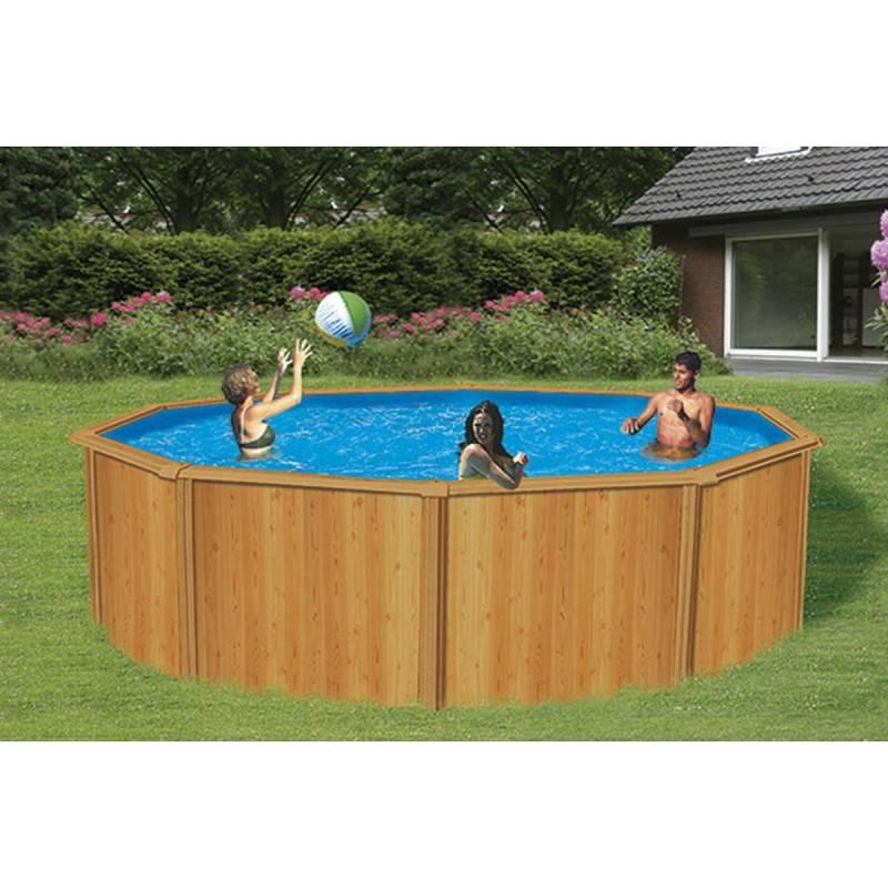 Piscina redonda desmontable acabado madera 460x120 cm hydrium bestway materiales de f brica - Piscina desmontable acero ...
