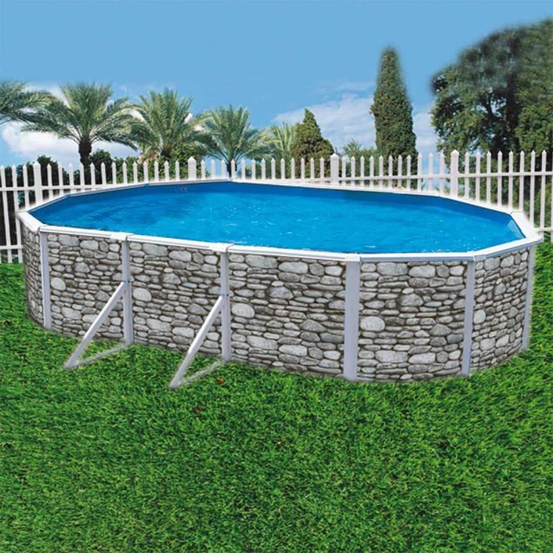 Piscina ovalada desmontable acabado piedra 490x370x120 cm hydrium bestway materiales de f brica - Piscina desmontable acero ...