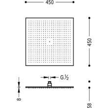 Rociador ducha cuadrado 45x45 TRES