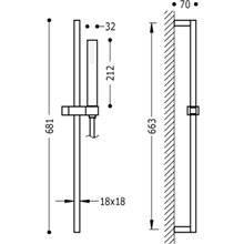 Kit ducha barra deslizante CUADRO-SLIM TRES