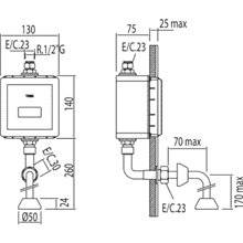 Grifo empotrado de urinario electrónico cromado TRES