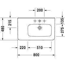 Lavabo asimétrico dcha para mueble 80 rebosadero DuraStyle Duravit