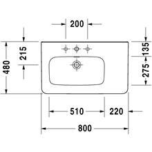 Lavabo asimétrico izq para mueble 80 rebosadero DuraStyle Duravit