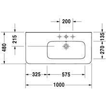 Lavabo asimétrico dcha para mueble 100 rebosadero DuraStyle Duravit