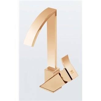 Grifo monomando de lavabo caño alto oro Inca