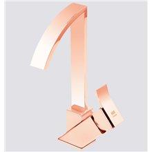 Grifo monomando de lavabo caño alto oro rosa Inca
