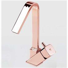 Grifo monomando lavabo caño alto oro rosa Catral