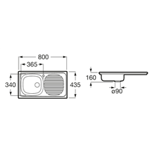 Fregadero 80x43,5cm escurridor dcha J Roca