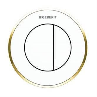 Pulsador Geberit10 Blanco-Dorado cisterna 8 cm