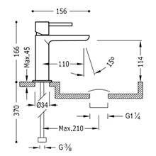 Grifo de lavabo Max-Tres caño corto cascada circular con maneta