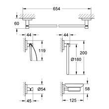 Colgador con conjunto de 5 accesorios para baño Essentials Grohe